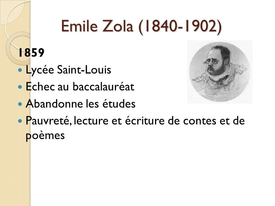 Emile Zola (1840-1902) 1859 Lycée Saint-Louis Echec au baccalauréat Abandonne les études Pauvreté, lecture et écriture de contes et de poèmes