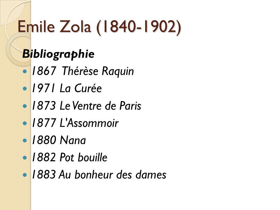 Emile Zola (1840-1902) Bibliographie 1867 Thérèse Raquin 1971 La Curée 1873 Le Ventre de Paris 1877 L Assommoir 1880 Nana 1882 Pot bouille 1883 Au bonheur des dames