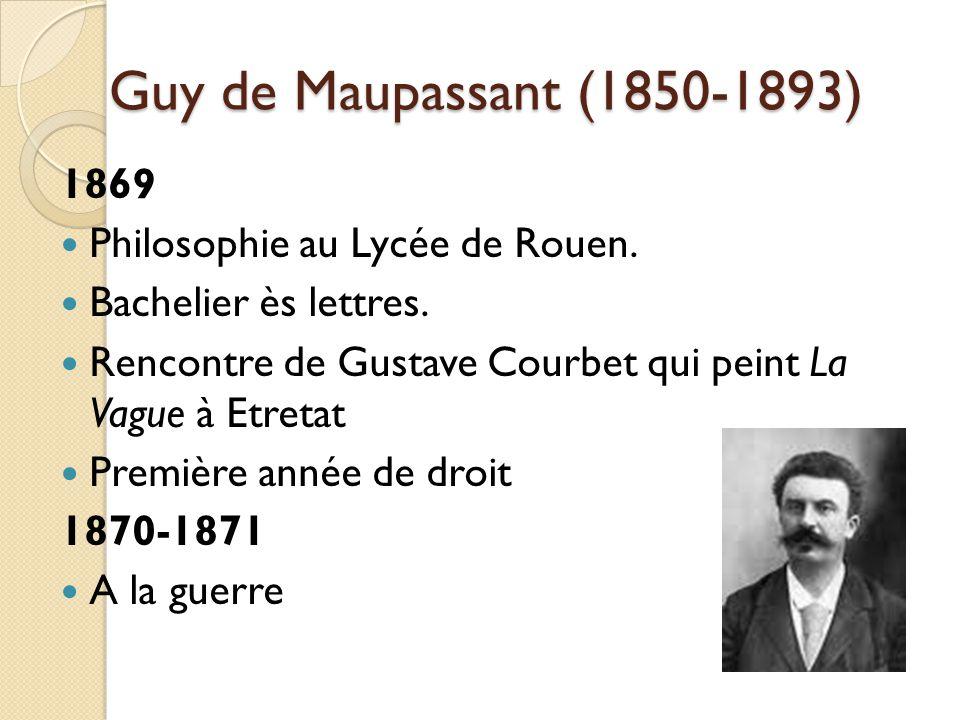 Guy de Maupassant (1850-1893) 1869 Philosophie au Lycée de Rouen.