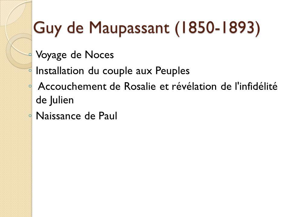 Guy de Maupassant (1850-1893) Voyage de Noces Installation du couple aux Peuples Accouchement de Rosalie et révélation de l infidélité de Julien Naissance de Paul