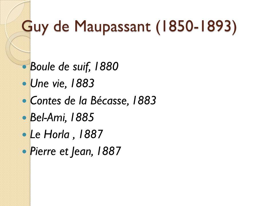 Guy de Maupassant (1850-1893) Boule de suif, 1880 Une vie, 1883 Contes de la Bécasse, 1883 Bel-Ami, 1885 Le Horla, 1887 Pierre et Jean, 1887