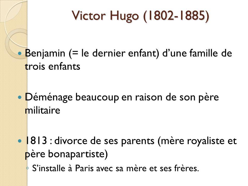 Benjamin (= le dernier enfant) dune famille de trois enfants Déménage beaucoup en raison de son père militaire 1813 : divorce de ses parents (mère royaliste et père bonapartiste) Sinstalle à Paris avec sa mère et ses frères.