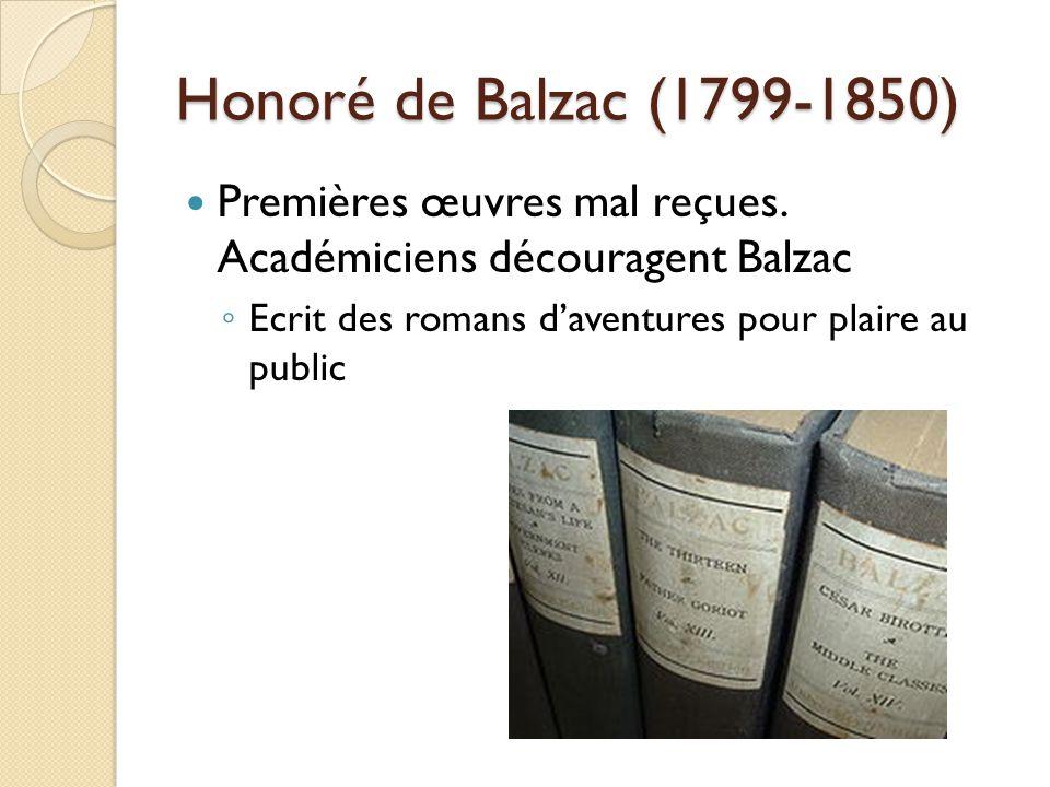 Honoré de Balzac (1799-1850) Premières œuvres mal reçues.