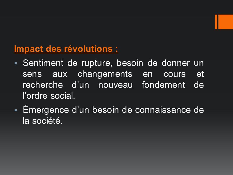 Impact des révolutions : Sentiment de rupture, besoin de donner un sens aux changements en cours et recherche dun nouveau fondement de lordre social.