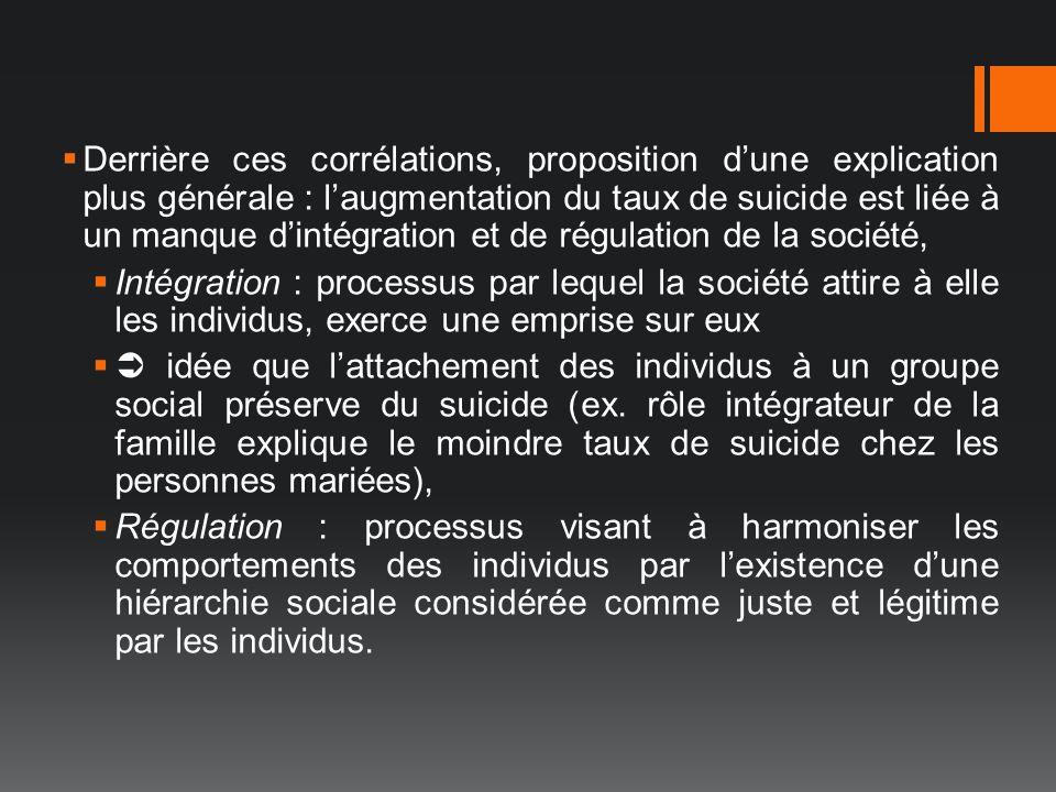 Derrière ces corrélations, proposition dune explication plus générale : laugmentation du taux de suicide est liée à un manque dintégration et de régul