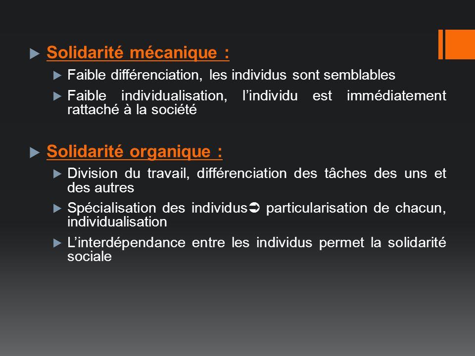 Solidarité mécanique : Faible différenciation, les individus sont semblables Faible individualisation, lindividu est immédiatement rattaché à la socié