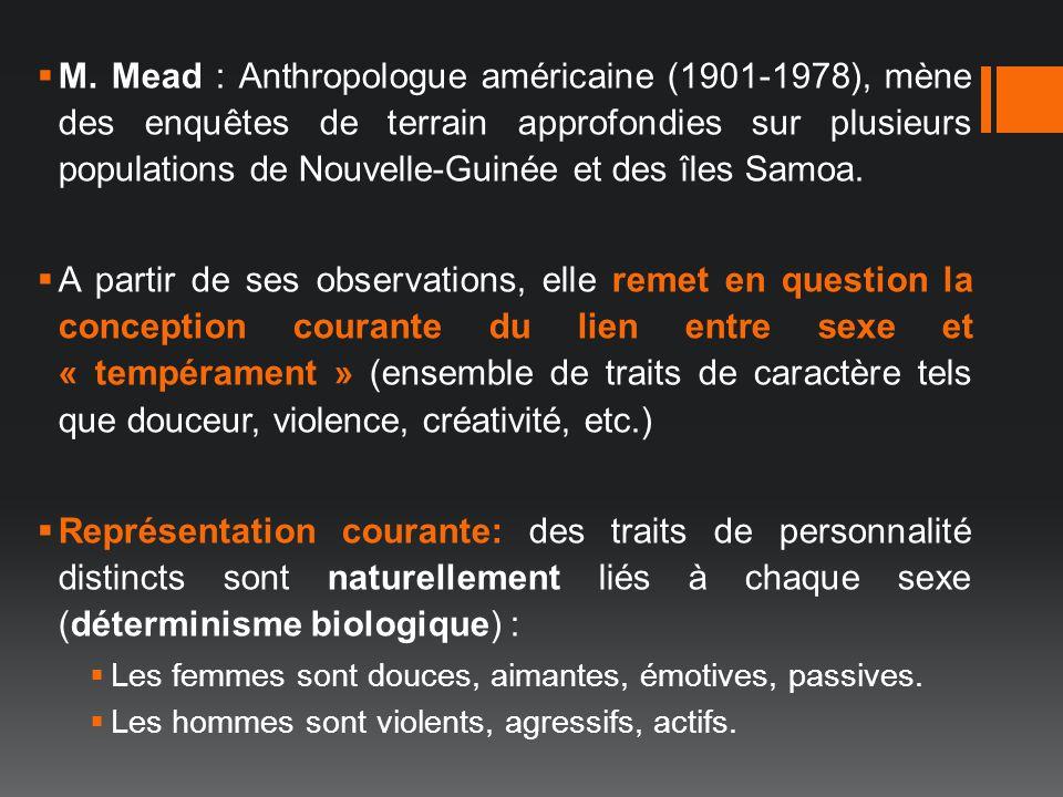 M. Mead : Anthropologue américaine (1901-1978), mène des enquêtes de terrain approfondies sur plusieurs populations de Nouvelle-Guinée et des îles Sam