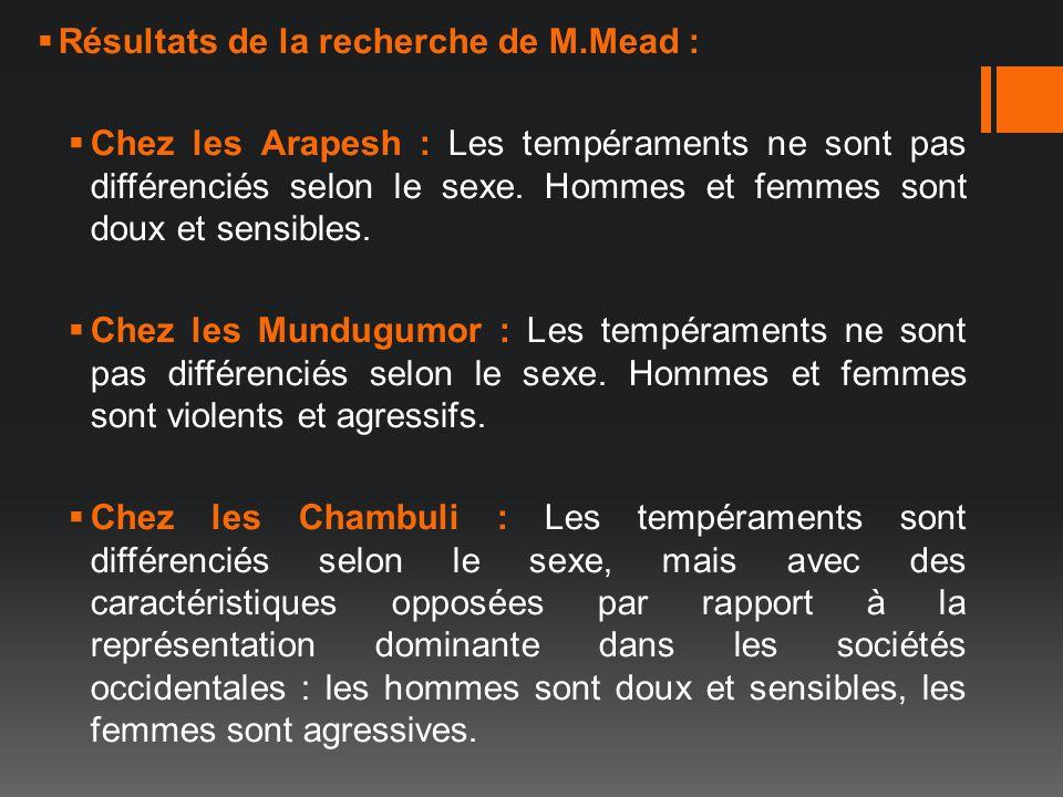 Résultats de la recherche de M.Mead : Chez les Arapesh : Les tempéraments ne sont pas différenciés selon le sexe. Hommes et femmes sont doux et sensib