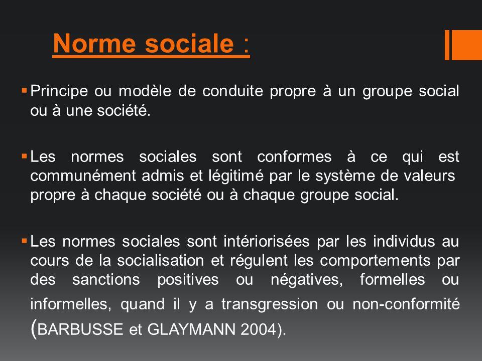 Norme sociale : Principe ou modèle de conduite propre à un groupe social ou à une société. Les normes sociales sont conformes à ce qui est communément