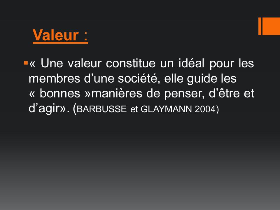 Valeur : « Une valeur constitue un idéal pour les membres dune société, elle guide les « bonnes »manières de penser, dêtre et dagir». ( BARBUSSE et GL