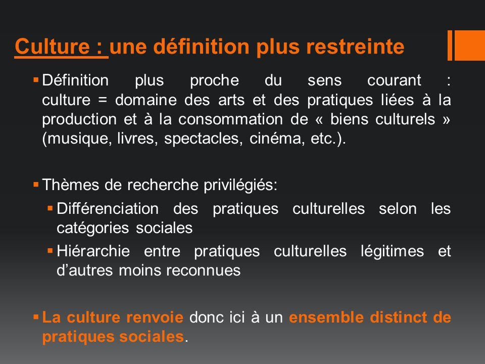 Culture : une définition plus restreinte Définition plus proche du sens courant : culture = domaine des arts et des pratiques liées à la production et