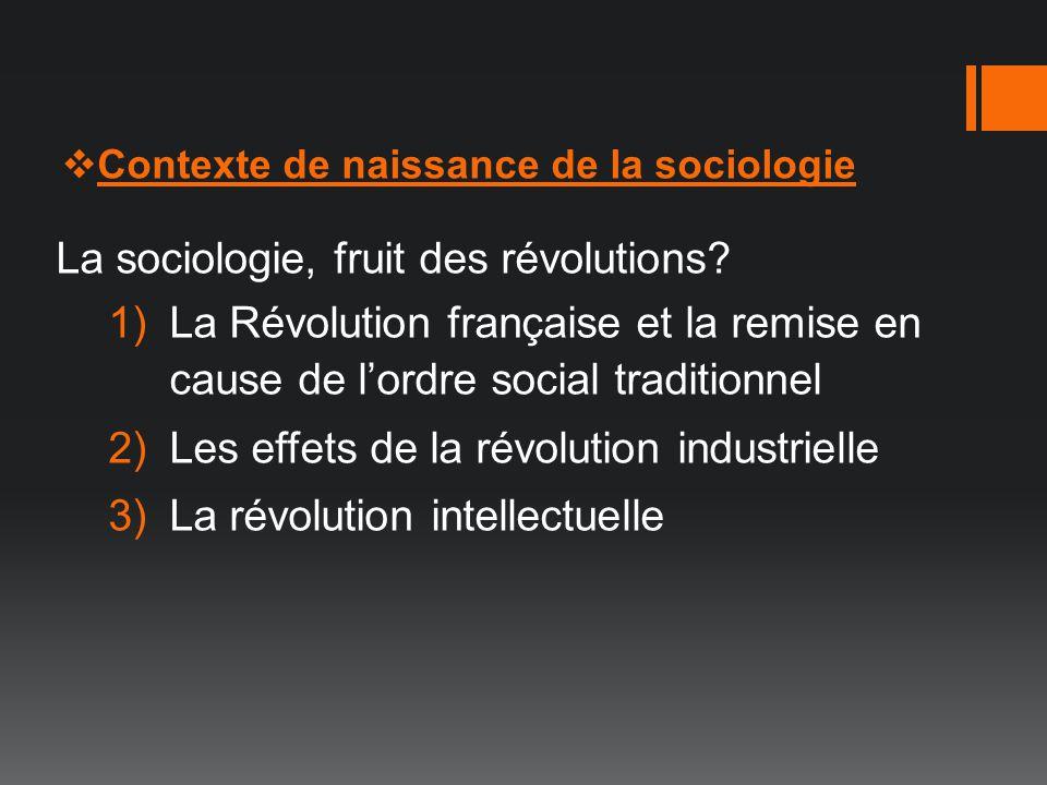 Contexte de naissance de la sociologie La sociologie, fruit des révolutions? 1)La Révolution française et la remise en cause de lordre social traditio