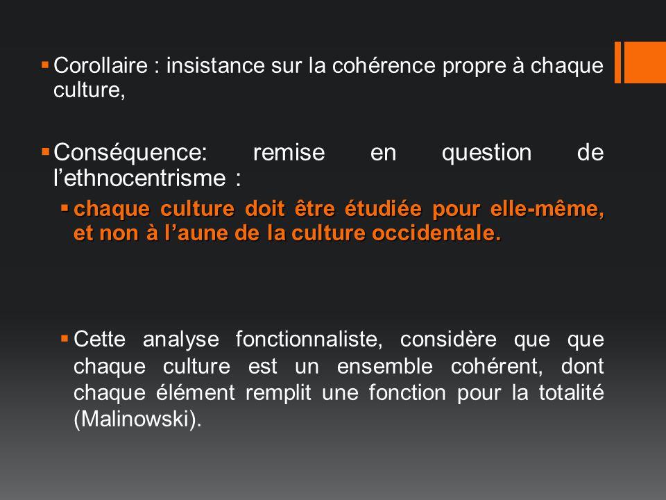 Corollaire : insistance sur la cohérence propre à chaque culture, Conséquence: remise en question de lethnocentrisme : chaque culture doit être étudié