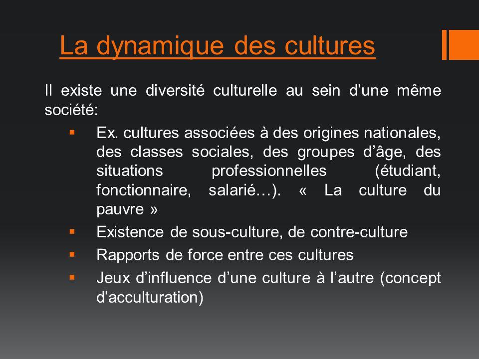 La dynamique des cultures Il existe une diversité culturelle au sein dune même société: Ex. cultures associées à des origines nationales, des classes