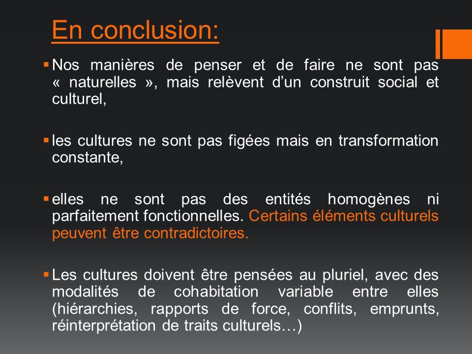 En conclusion: Nos manières de penser et de faire ne sont pas « naturelles », mais relèvent dun construit social et culturel, les cultures ne sont pas