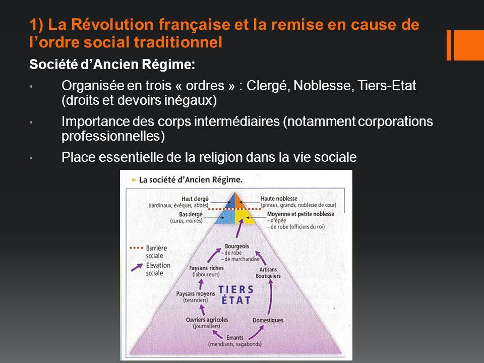 1) La Révolution française et la remise en cause de lordre social traditionnel Société dAncien Régime: Organisée en trois « ordres » : Clergé, Nobless