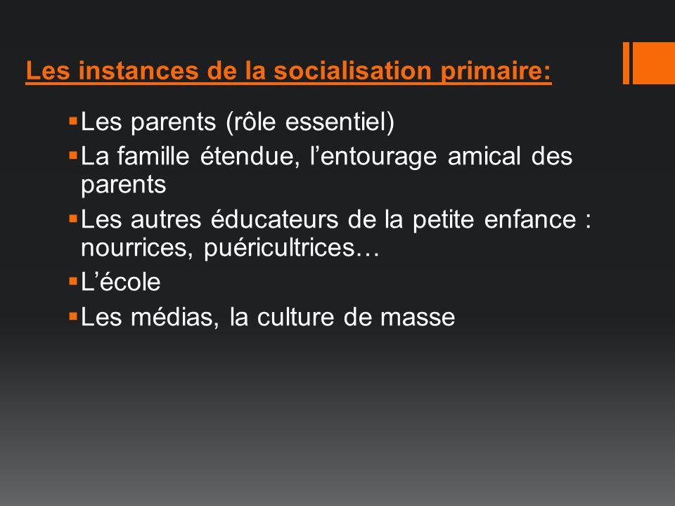 Les instances de la socialisation primaire: Les parents (rôle essentiel) La famille étendue, lentourage amical des parents Les autres éducateurs de la