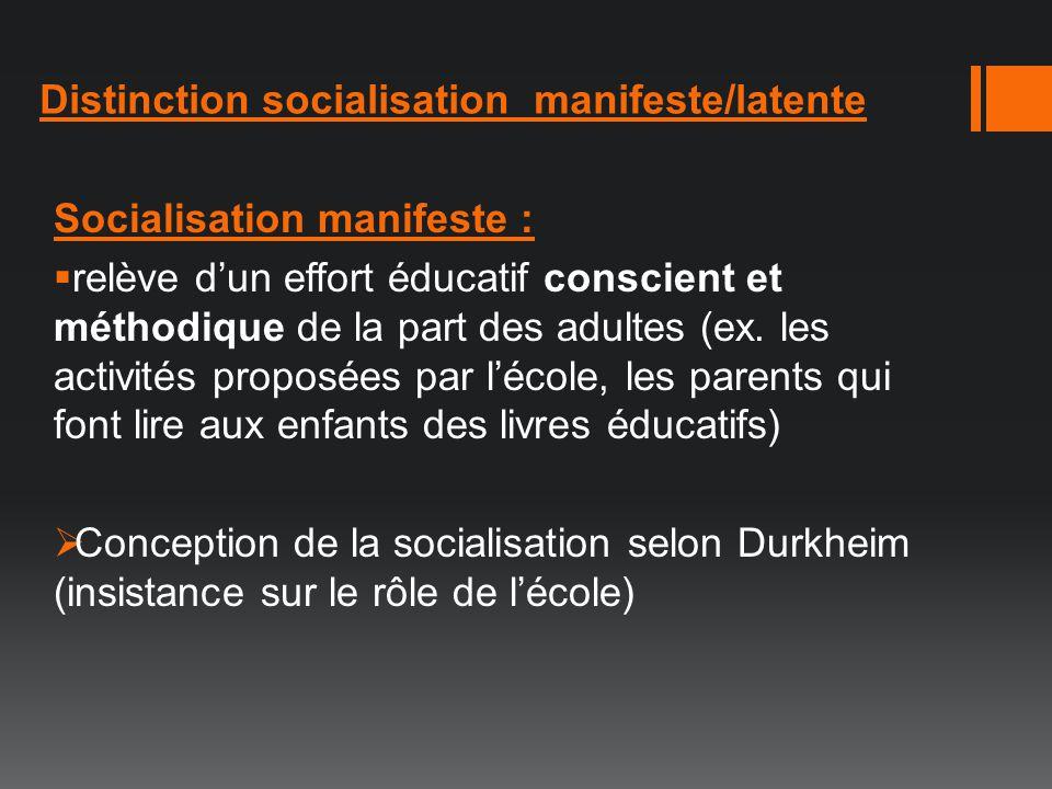 Distinction socialisation manifeste/latente Socialisation manifeste : relève dun effort éducatif conscient et méthodique de la part des adultes (ex. l