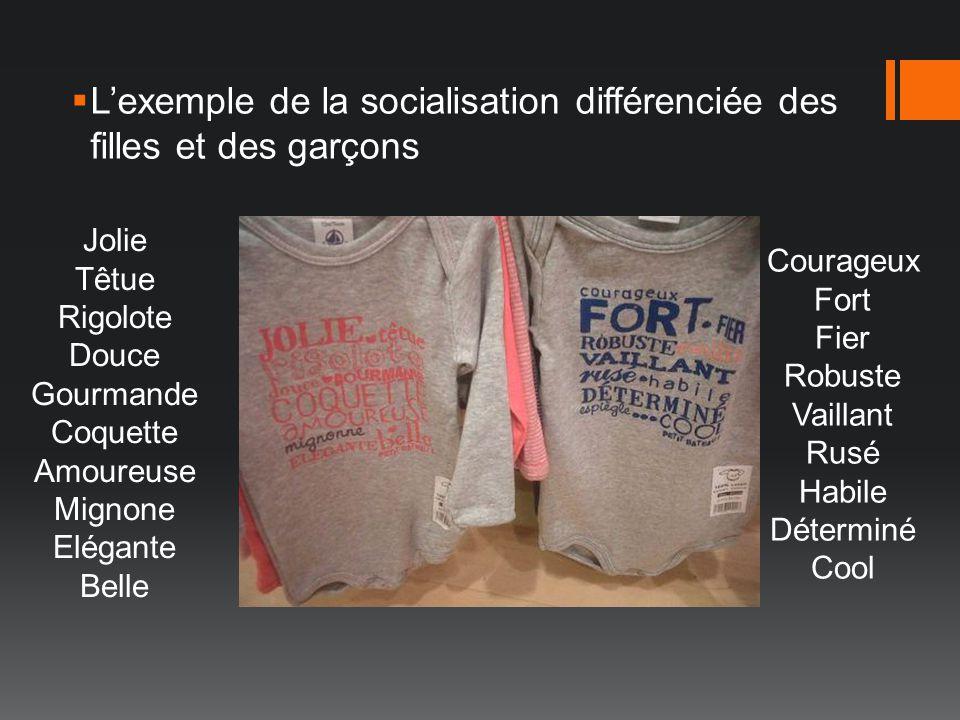 Lexemple de la socialisation différenciée des filles et des garçons Courageux Fort Fier Robuste Vaillant Rusé Habile Déterminé Cool Jolie Têtue Rigolo