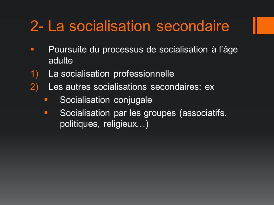 2- La socialisation secondaire Poursuite du processus de socialisation à lâge adulte 1)La socialisation professionnelle 2)Les autres socialisations se