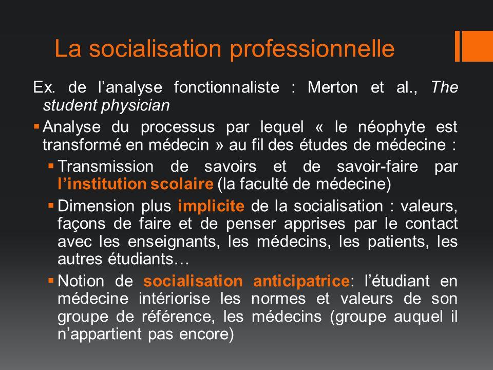 La socialisation professionnelle Ex. de lanalyse fonctionnaliste : Merton et al., The student physician Analyse du processus par lequel « le néophyte
