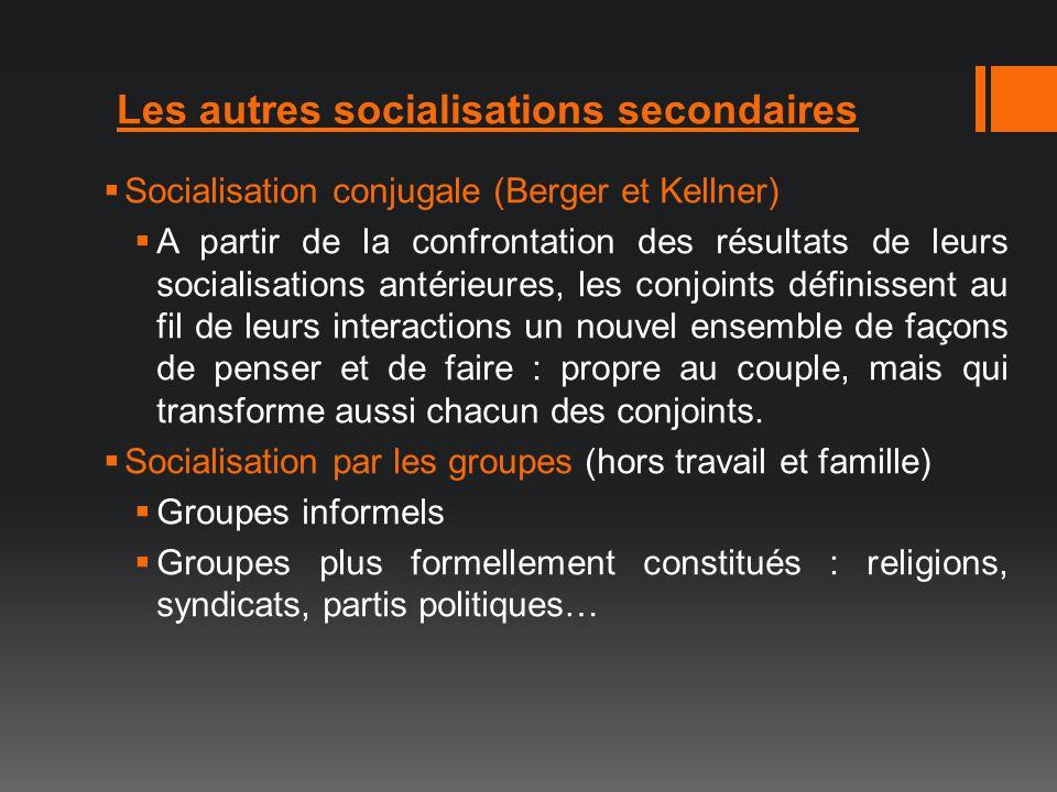 Les autres socialisations secondaires Socialisation conjugale (Berger et Kellner) A partir de la confrontation des résultats de leurs socialisations a