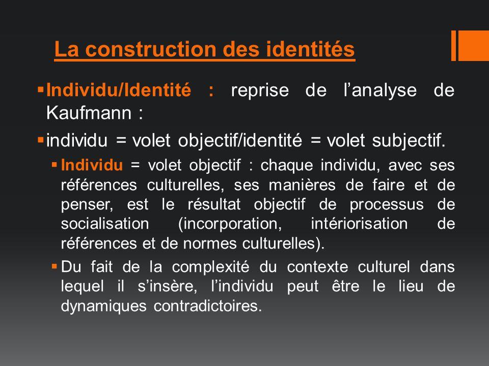 La construction des identités Individu/Identité : reprise de lanalyse de Kaufmann : individu = volet objectif/identité = volet subjectif. Individu = v
