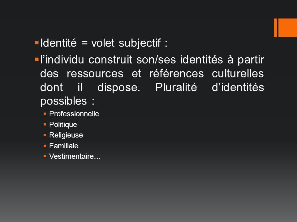 Identité = volet subjectif : lindividu construit son/ses identités à partir des ressources et références culturelles dont il dispose. Pluralité dident