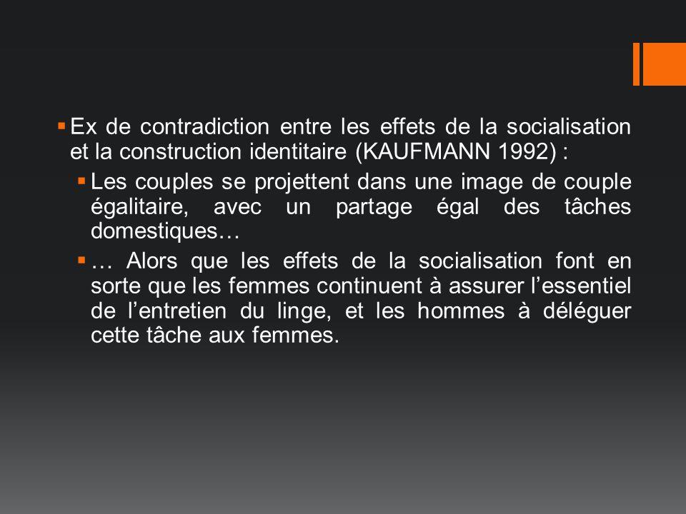 Ex de contradiction entre les effets de la socialisation et la construction identitaire (KAUFMANN 1992) : Les couples se projettent dans une image de