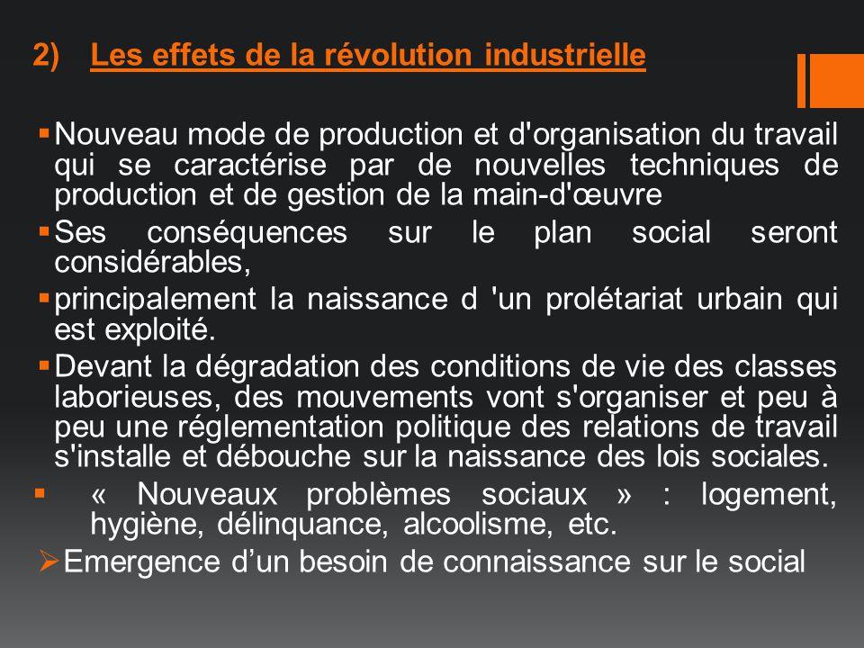 2)Les effets de la révolution industrielle Nouveau mode de production et d'organisation du travail qui se caractérise par de nouvelles techniques de p