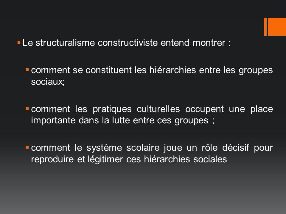 Le structuralisme constructiviste entend montrer : comment se constituent les hiérarchies entre les groupes sociaux; comment les pratiques culturelles