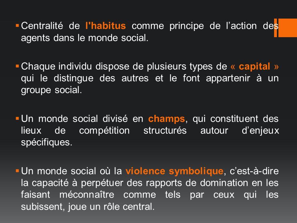 Centralité de l'habitus comme principe de laction des agents dans le monde social. Chaque individu dispose de plusieurs types de « capital » qui le di