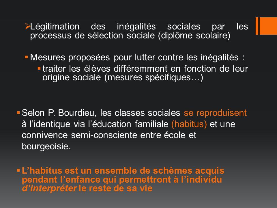 Légitimation des inégalités sociales par les processus de sélection sociale (diplôme scolaire) Mesures proposées pour lutter contre les inégalités : t