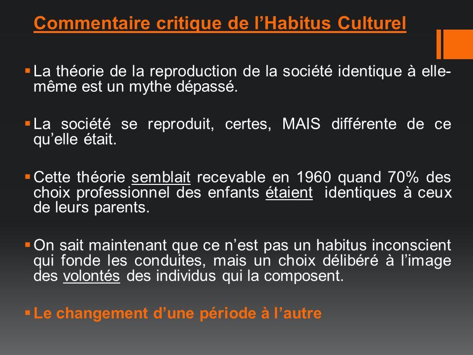 Commentaire critique de lHabitus Culturel La théorie de la reproduction de la société identique à elle- même est un mythe dépassé. La société se repro