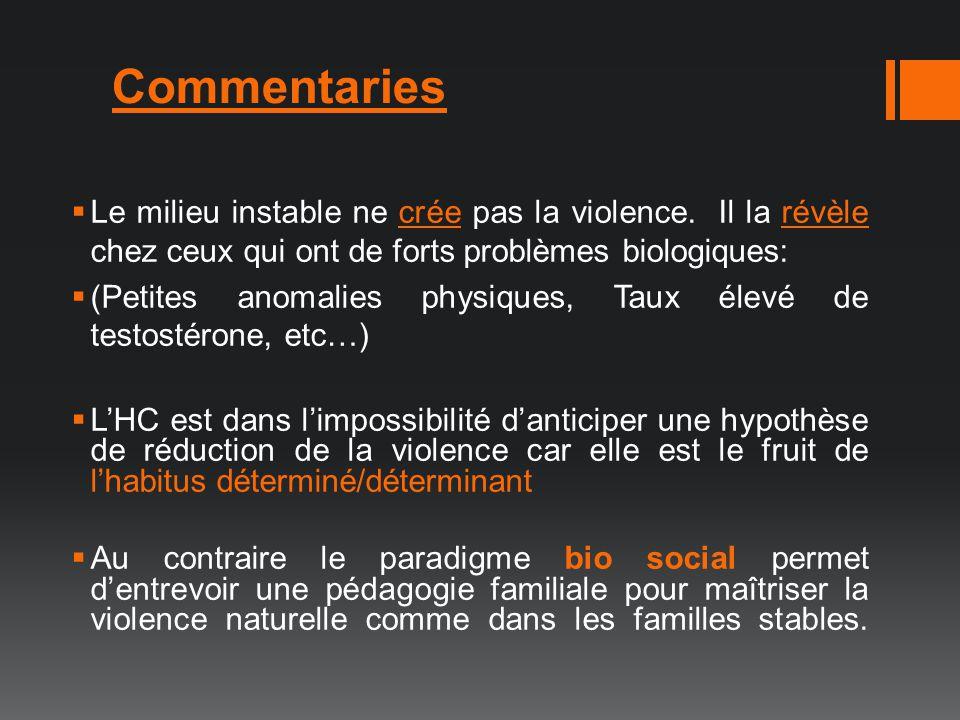 Le milieu instable ne crée pas la violence. Il la révèle chez ceux qui ont de forts problèmes biologiques: (Petites anomalies physiques, Taux élevé de