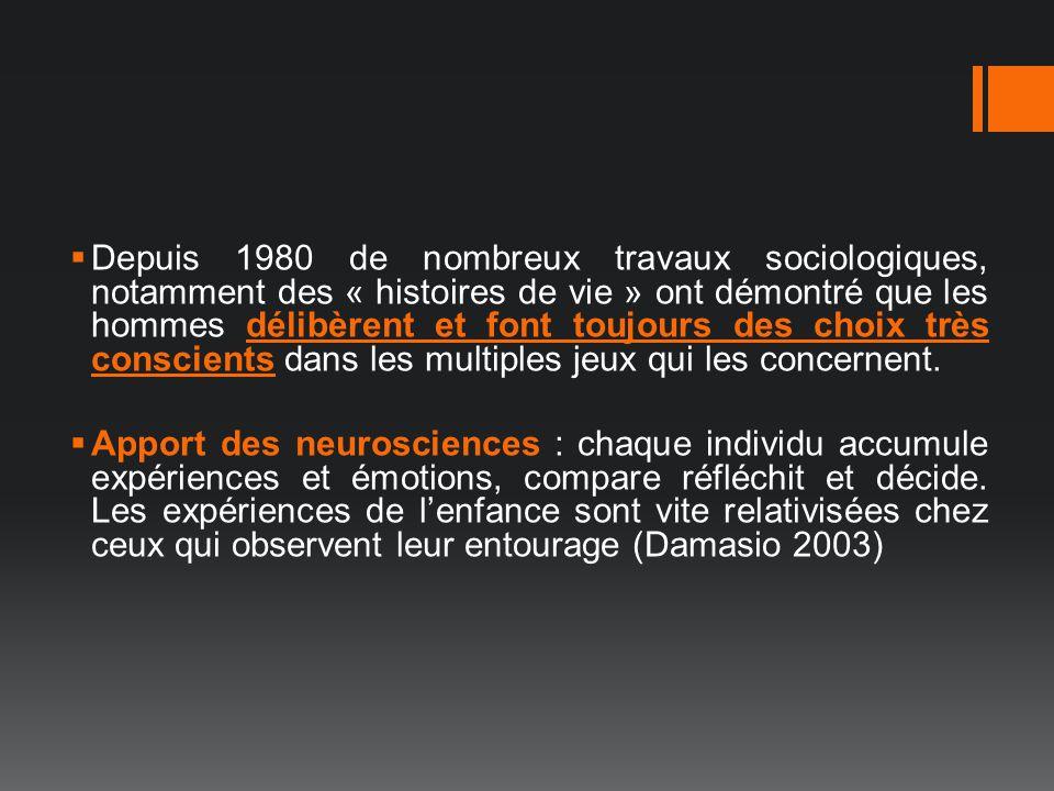 Depuis 1980 de nombreux travaux sociologiques, notamment des « histoires de vie » ont démontré que les hommes délibèrent et font toujours des choix tr