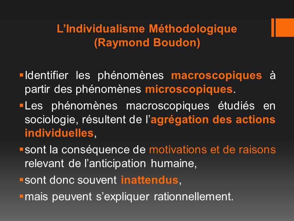 LIndividualisme Méthodologique (Raymond Boudon) Identifier les phénomènes macroscopiques à partir des phénomènes microscopiques. Les phénomènes macros