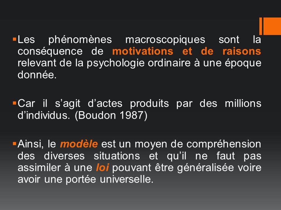Les phénomènes macroscopiques sont la conséquence de motivations et de raisons relevant de la psychologie ordinaire à une époque donnée. Car il sagit