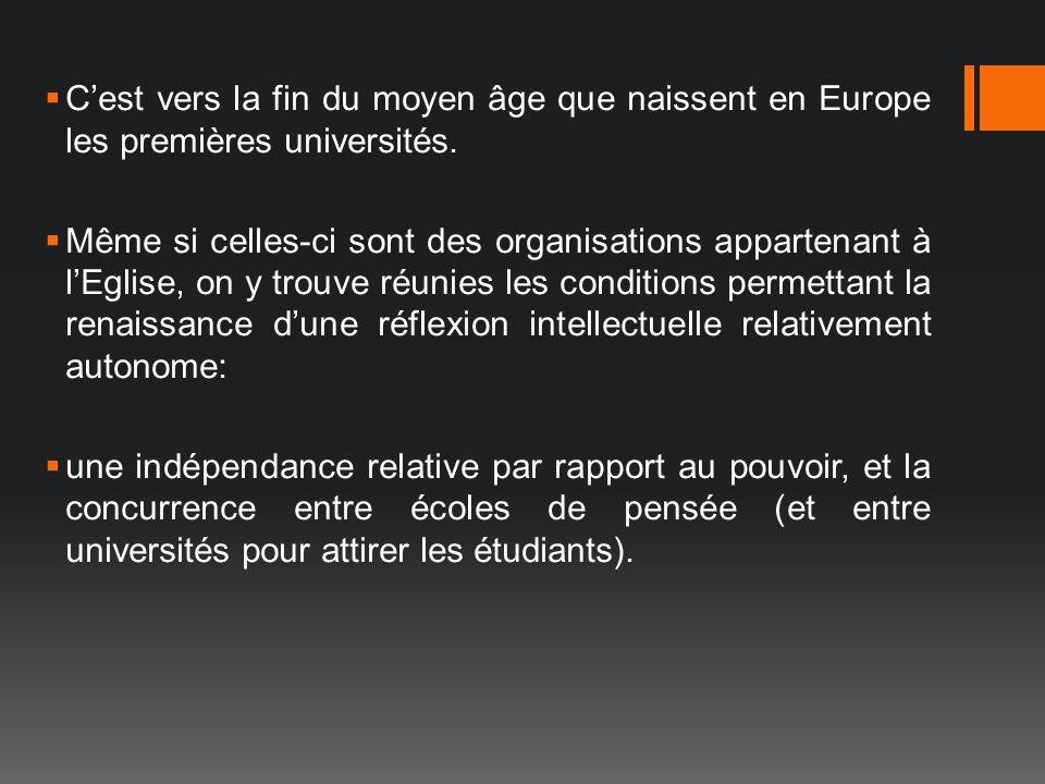 Cest vers la fin du moyen âge que naissent en Europe les premières universités. Même si celles-ci sont des organisations appartenant à lEglise, on y t