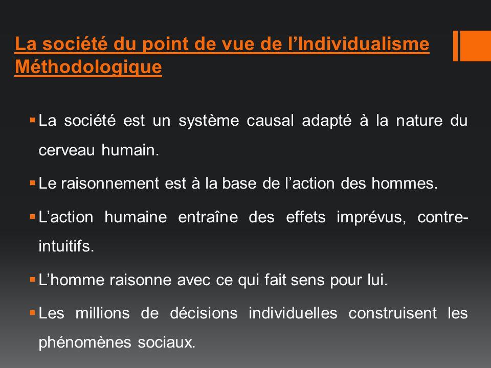 La société du point de vue de lIndividualisme Méthodologique La société est un système causal adapté à la nature du cerveau humain. Le raisonnement es
