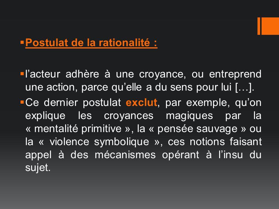 Postulat de la rationalité : lacteur adhère à une croyance, ou entreprend une action, parce quelle a du sens pour lui […]. Ce dernier postulat exclut,