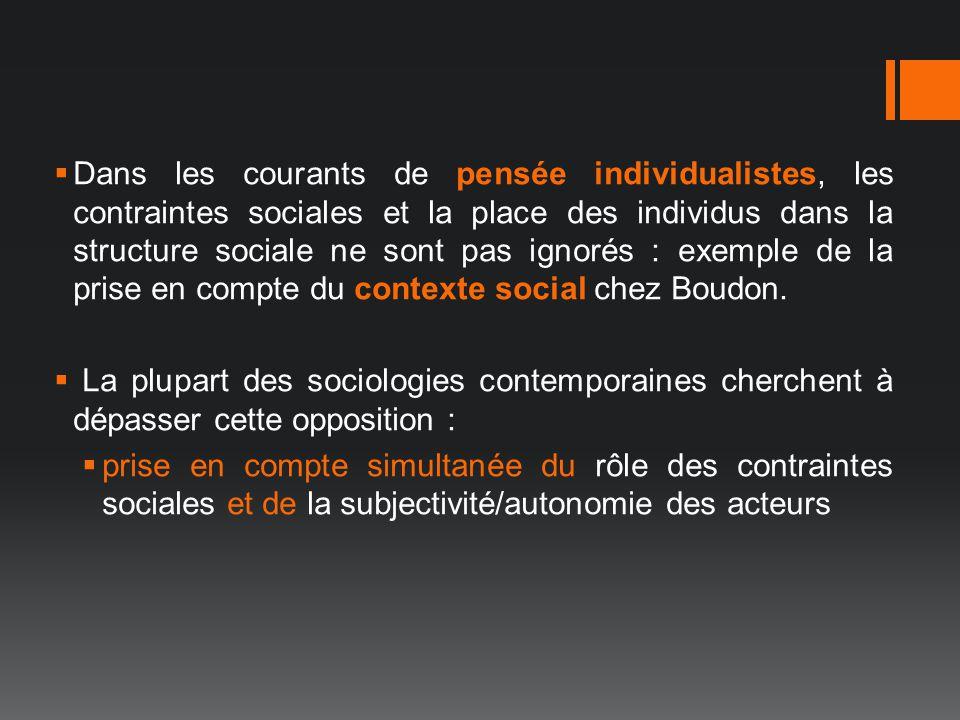 Dans les courants de pensée individualistes, les contraintes sociales et la place des individus dans la structure sociale ne sont pas ignorés : exempl