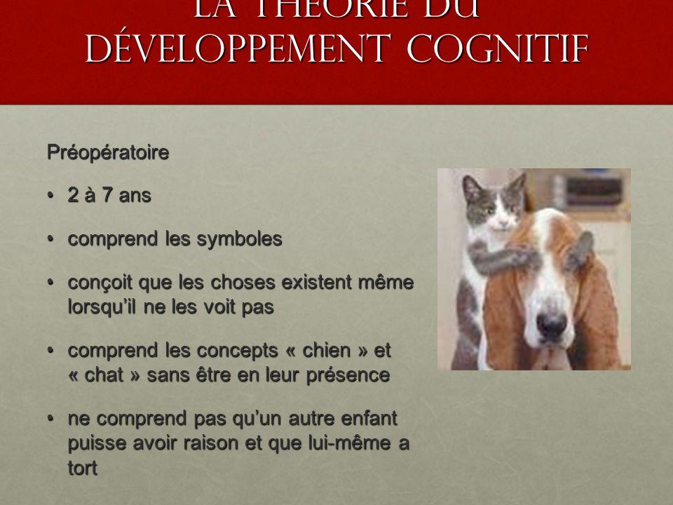 La théorie du développement cognitif Préopératoire 2 à 7 ans 2 à 7 ans comprend les symboles comprend les symboles conçoit que les choses existent mêm