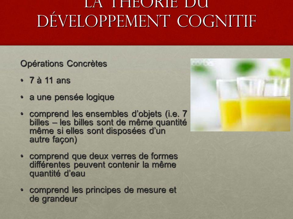 La théorie du développement cognitif Opérations Concrètes 7 à 11 ans 7 à 11 ans a une pensée logique a une pensée logique comprend les ensembles dobje