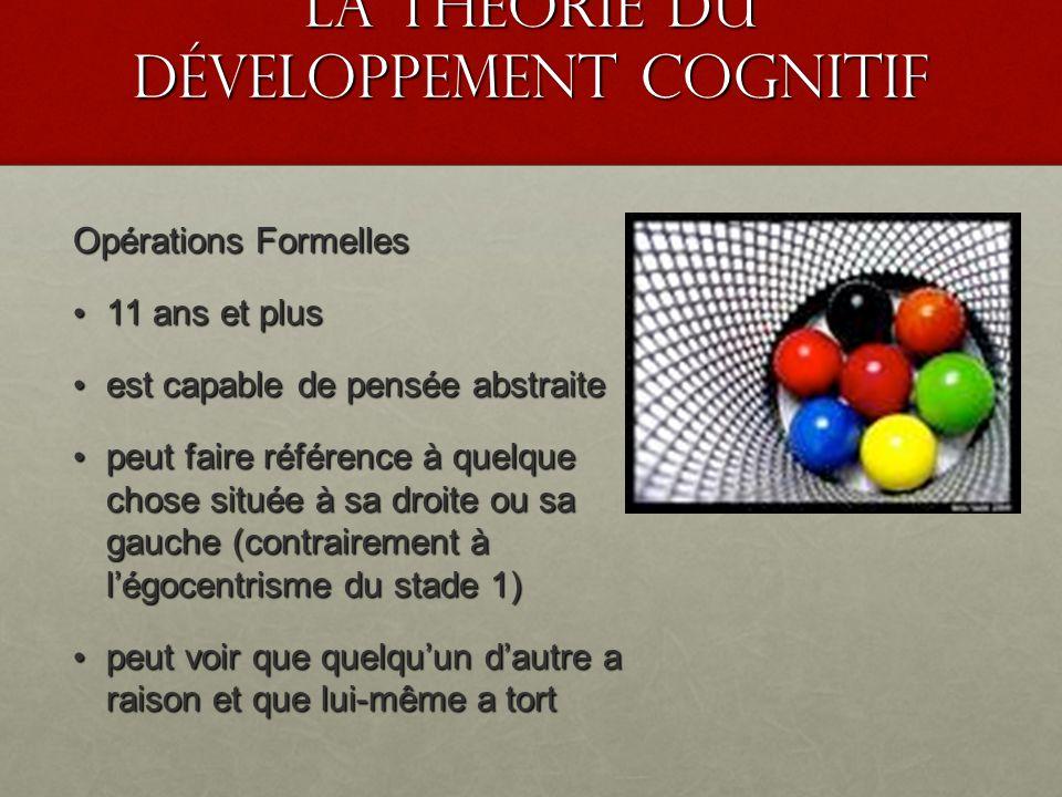 La théorie du développement cognitif Opérations Formelles 11 ans et plus 11 ans et plus est capable de pensée abstraite est capable de pensée abstrait