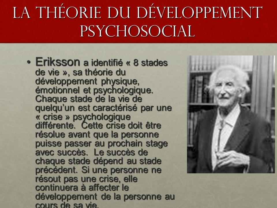 La théorie du développement psychosocial Eriksson a identifié « 8 stades de vie », sa théorie du développement physique, émotionnel et psychologique.