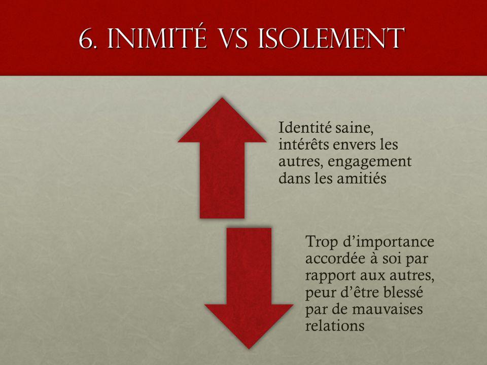 6. Inimité VS isolement Identité saine, intérêts envers les autres, engagement dans les amitiés Trop dimportance accordée à soi par rapport aux autres