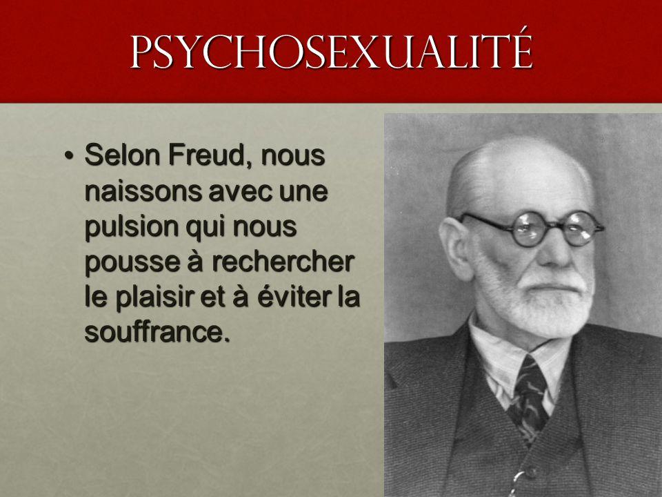 PSyChosexualité Selon Freud, nous naissons avec une pulsion qui nous pousse à rechercher le plaisir et à éviter la souffrance. Selon Freud, nous naiss