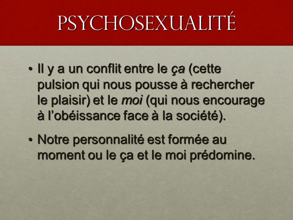 PSyChosexualité Il y a un conflit entre le ça (cette pulsion qui nous pousse à rechercher le plaisir) et le moi (qui nous encourage à lobéissance face