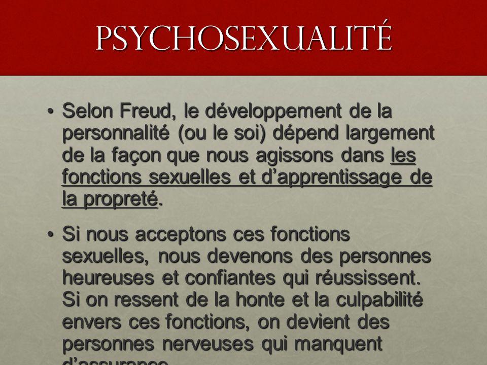 PSyChosexualité Selon Freud, le développement de la personnalité (ou le soi) dépend largement de la façon que nous agissons dans les fonctions sexuell